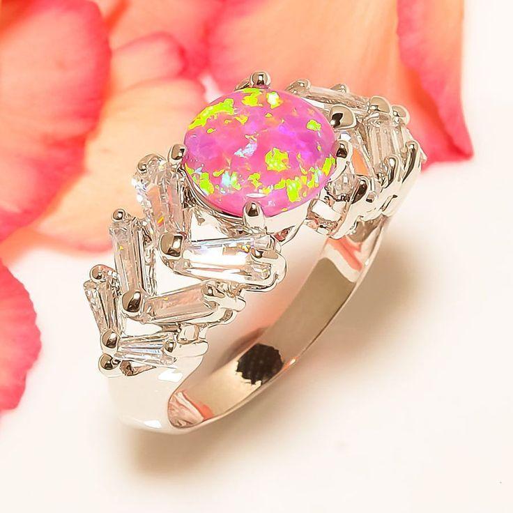 Australian Pink Fire Opal, White Topaz 925 Sterling Silver Jewelry Ring 7.5 #Handmade #Cluster