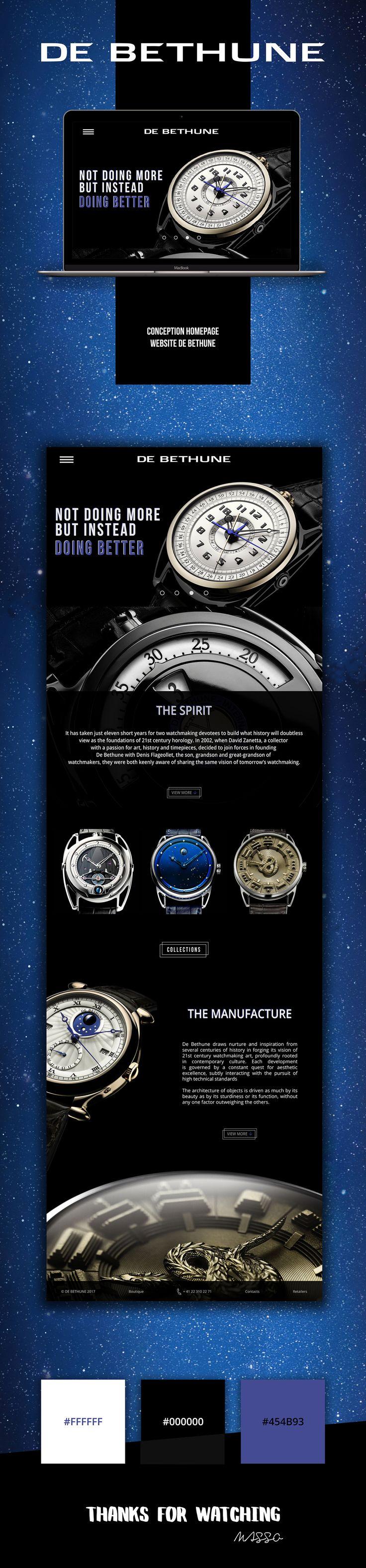 De Bethune Swiss Luxury Watches - Website Homepage on Behance