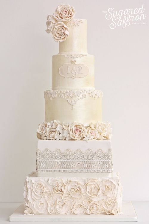Ivory Shimmer wedding cake by the Sugared Saffron Cake Studio in London