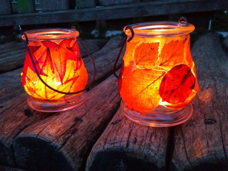 autumn leaf lights. Photo tutorial on blog. őszi mécsesek, magyar nyelvű leírással