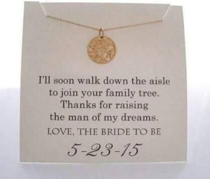 Love this!! Give this necklace and note (or flowers and a note) to the mother of the groom on our wedding day!