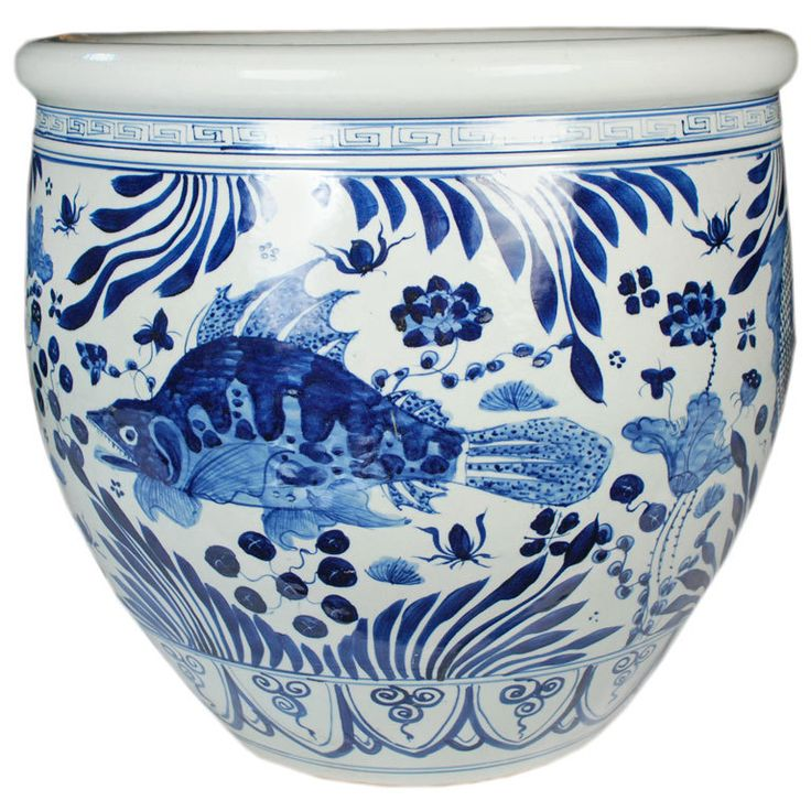 Blue and white chinese fish bowl ceramics blue and and for Chinese fish bowl