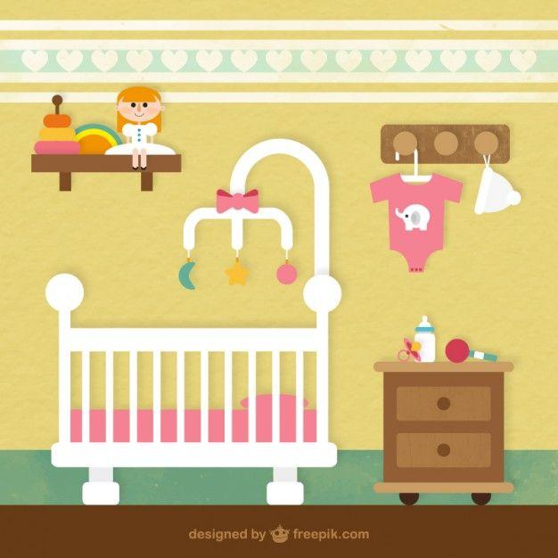 cuarto del bebé Vector Gratis