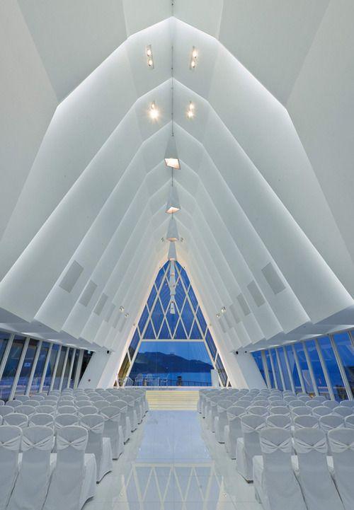 Modern Church clean white, dynamic space