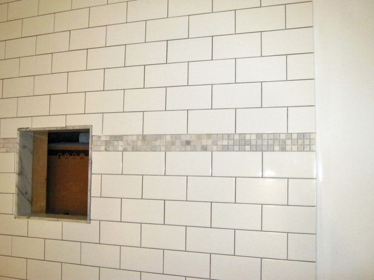 Wall Accent White Subway Tile Shower With Accent