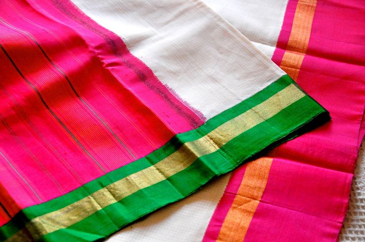 Gadwal sari - handloom cotton with silk borders, available at Omnah. www.facebook.com/omnah.