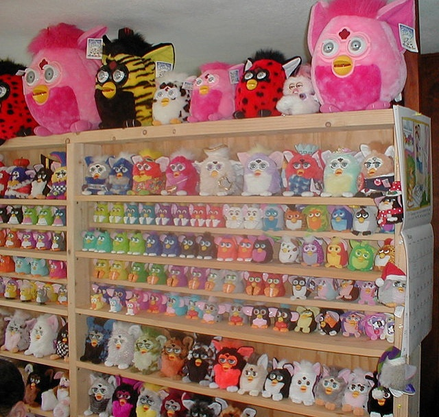 "oh my gosh. I never thought furbys were THAT popular. Creepy! my old furby is broken and when I shake him, he says, ""RING RING RING R-R-RINNGGG.""  I'm scared. He's in my closet (I put him there)"