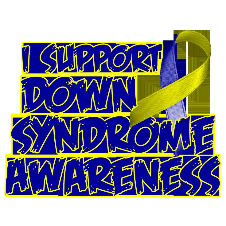 I support Down Syndrome awareness #blue #yellow #ribbon