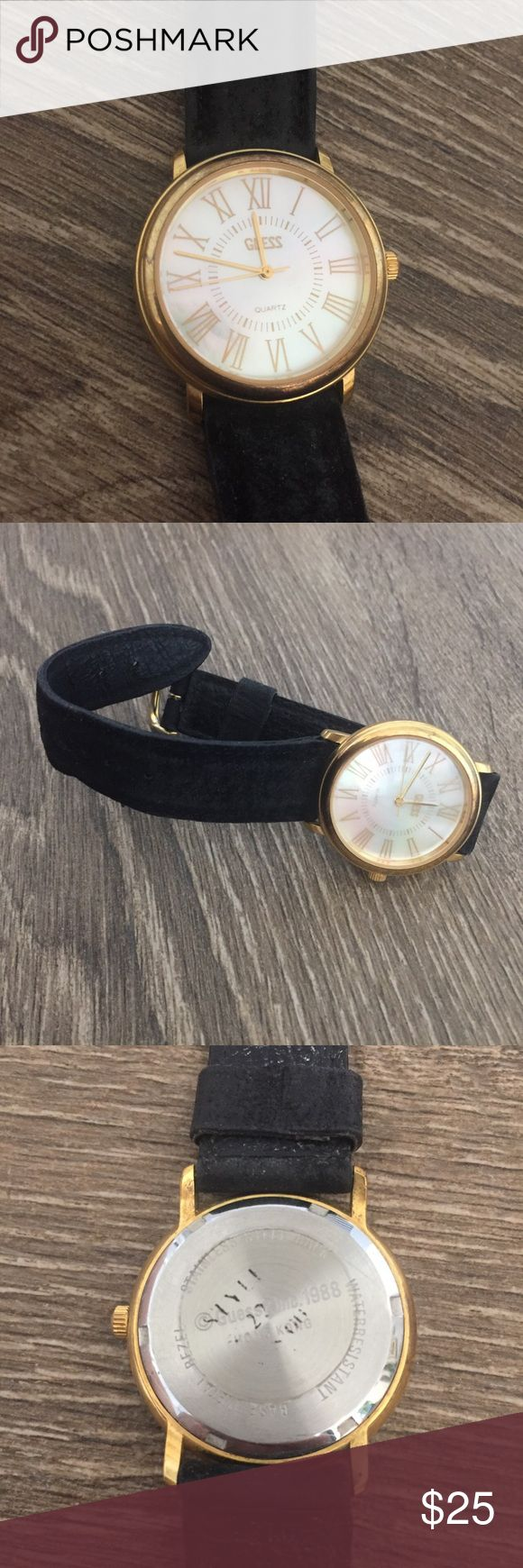 Vintage Guess Watch Iridescent Pearl 1988 Vintage Guess Watch. Marked 1988 on the back. Iridescent face almost like pearls. Gold trim and numbers. Genuine leather black straps . Water resistant. Needs new battery #guess #watch Guess Accessories Watches