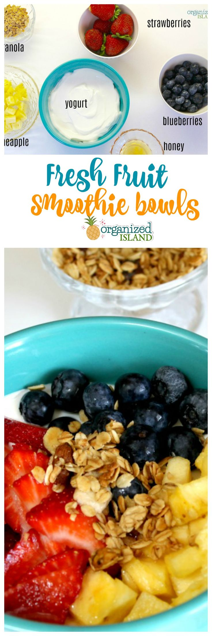Want a healthy breakfast idea? These fresh fruit smoothie bowls with honey and granola are a nice change!