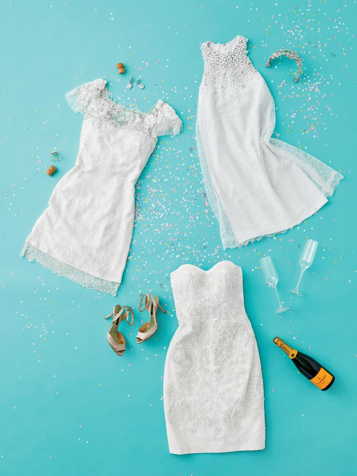 Show off your new bling at the engagement party in a short, white cocktail dress.
