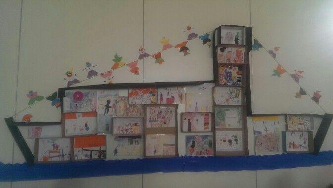 Pietenboot, ieder kind tekent een kamer van de boot, plakken in doosjes en omlijsting erom. Klaar pietjes als slingers