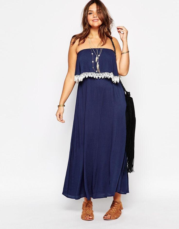 2015 hit sale sexy  strapless  long dress   bule chiffon maxi beachdress  plus size  lace dress women with  white  patchwork 040