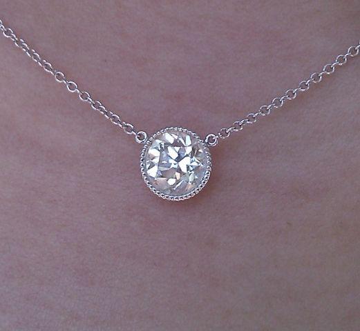 love, Love, LOVE! milgrain bezel diamond solitare necklace