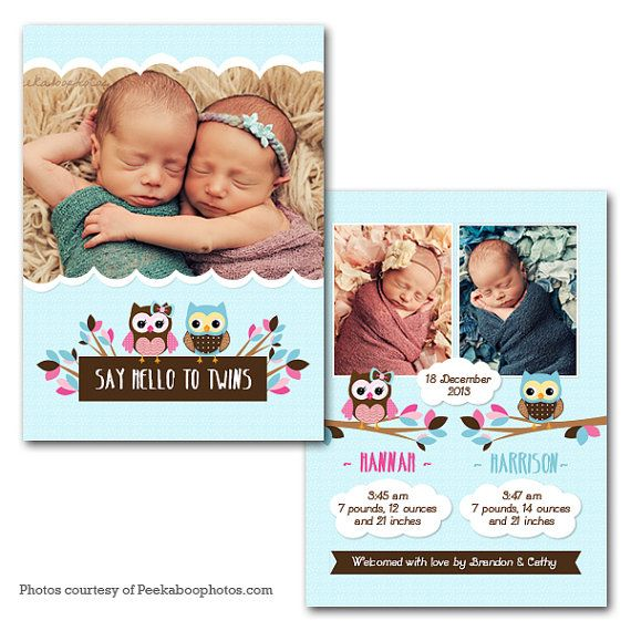 "Cute Owl TWINS Baby Announcement 5"" X 7"" Digital File"