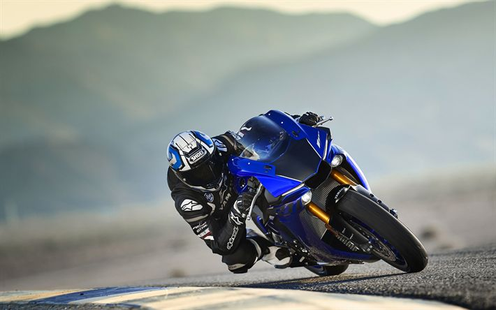 Download wallpapers Team Yamaha, raceway, 4k, Yamaha YZF-R1, 2018 bikes, sportsbikes, superbikes, Yamaha