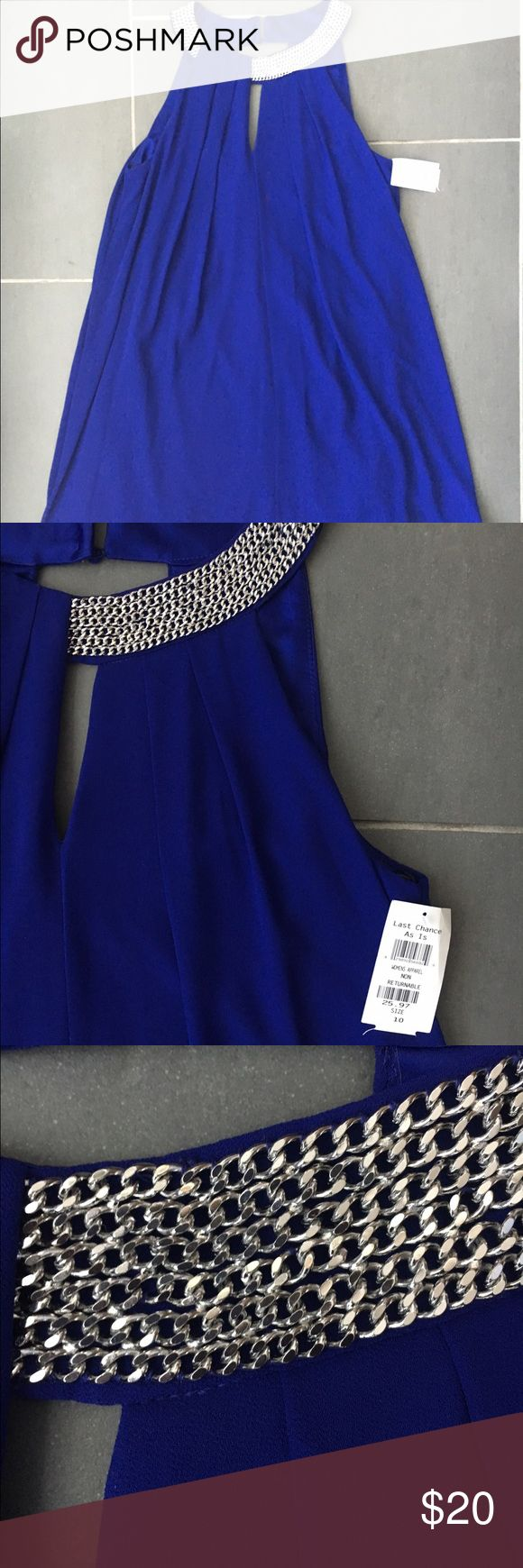 Size 10 Blue Flowy dress Beautiful key hole neckline with a chain detail. This dress floats away from the body. Never worn and purchased a Nordstrom discount store. One of the loops is broken on the neck (pictured). Other than that it is in perfect condition! Dresses Mini