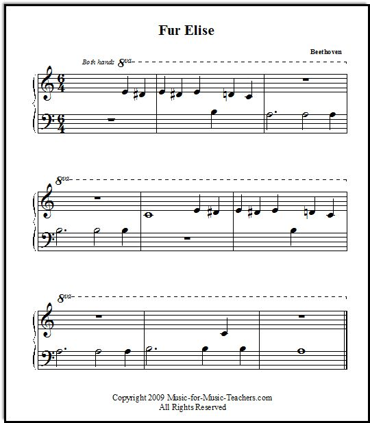 Fur Elise by Beethoven for beginners, Music-for-Music-Teachers.com- website with easy piano arrangements
