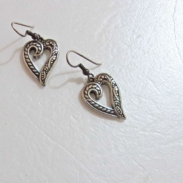 Brighton earrings reversible hearts heart flips to floral rope silvertone signed #Brighton #DropDangle