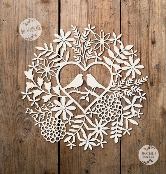 SVG / PDF Love Birds Foliage Design  by TommyandTillyDesign