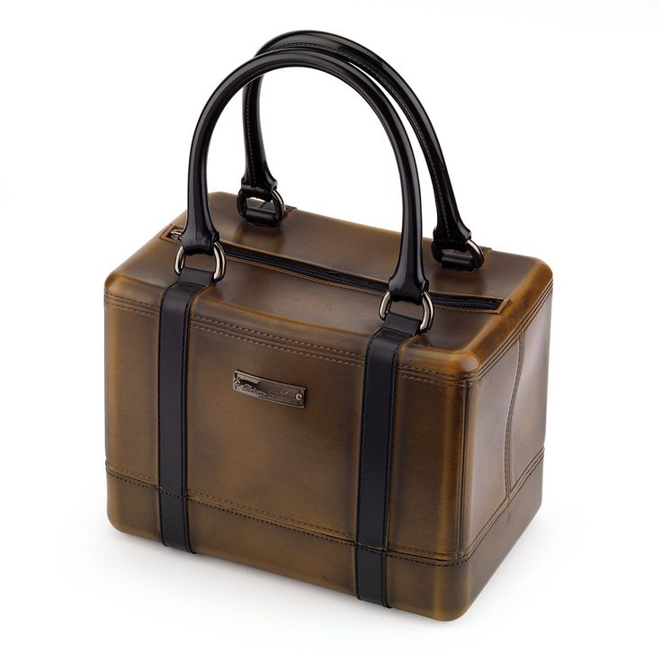 Satchel handbag in two colours in PVC, aged and antique finished look with a metal plate