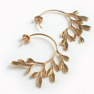Curved Leaf Hoop Earrings