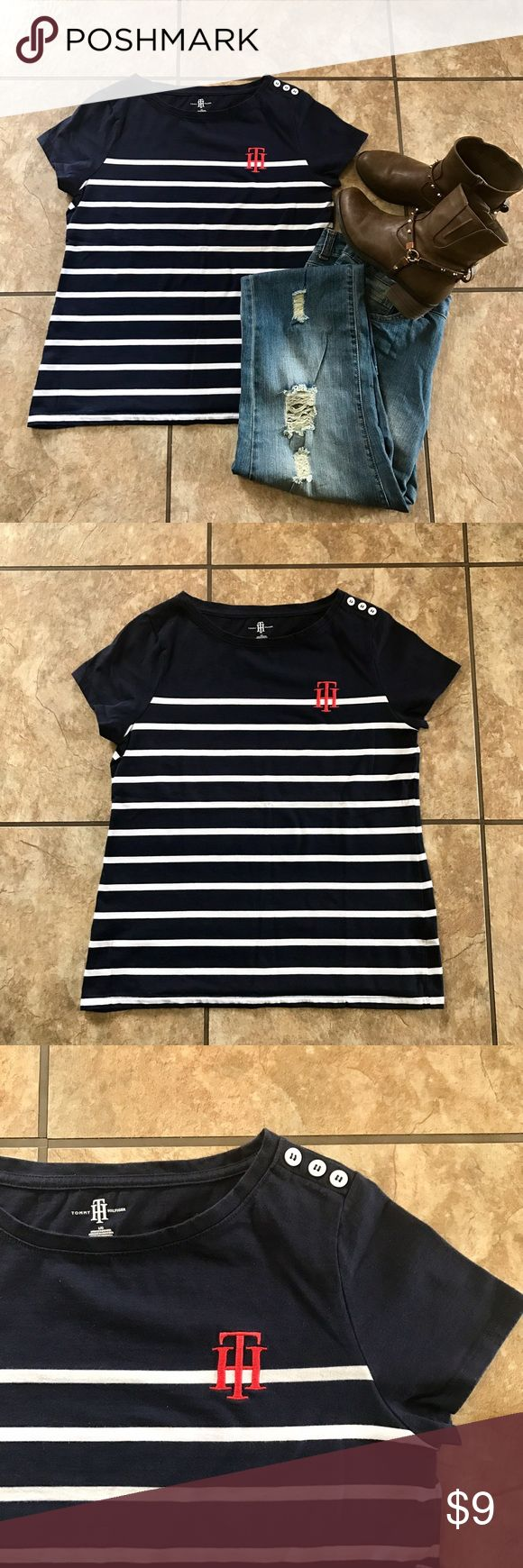 Tommy Hilfiger Nautical Tee Tommy Hilfiger Nautical Tee, size large. Excellent used condition. Tommy Hilfiger Tops Tees - Short Sleeve