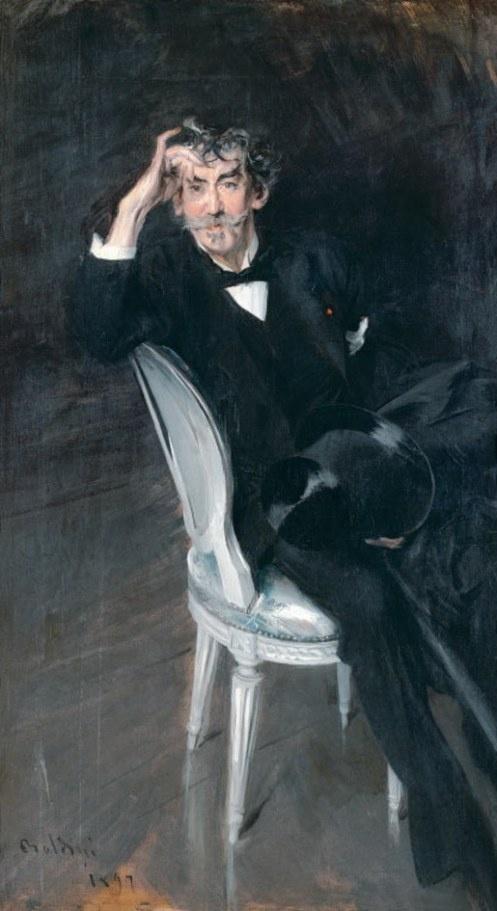 1897 Giovanni Boldini: Portrait of James McNeill Whistler, painter.AMBOS SACRIFICADOS POR LO ELEGANTE CON TOQUES  DE ALARGAMIENTO DE FIGURAS A LO THEOTOCOPULI....para picasso arte degenerado....la degeneracion del buen gusto