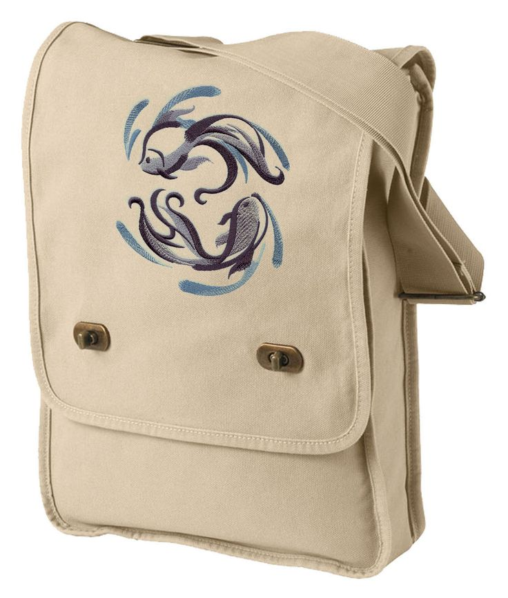 Sumi-e Fish Embroidered Canvas Field Bag
