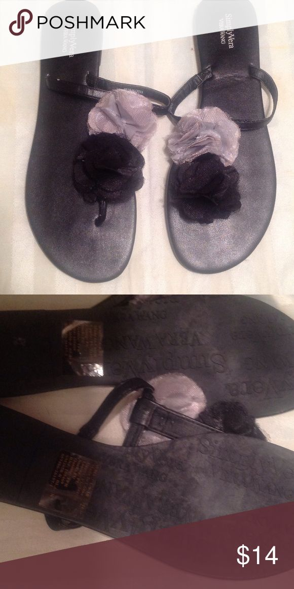 Simply Vera wang sandals **never worn*** Black floral Vera wang sandals Simply Vera Vera Wang Shoes Sandals