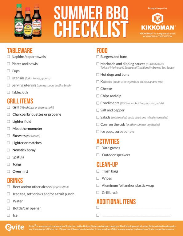 Don't bring out the barbecue only to find you forgot to pick up propane. Make your summer party a success by downloading our printable summer BBQ checklist, brought to you by KIKKOMAN®. Just print one out before you start shopping, then check off items as you go. Summer BBQ Shopping List by Evite for Kikkoman