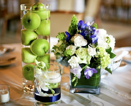 more small centerpiece ideas.  Limes instead of apples?