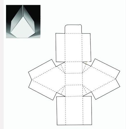 Triangle box net packaging pinterest triangles and boxes for Triangle packaging template