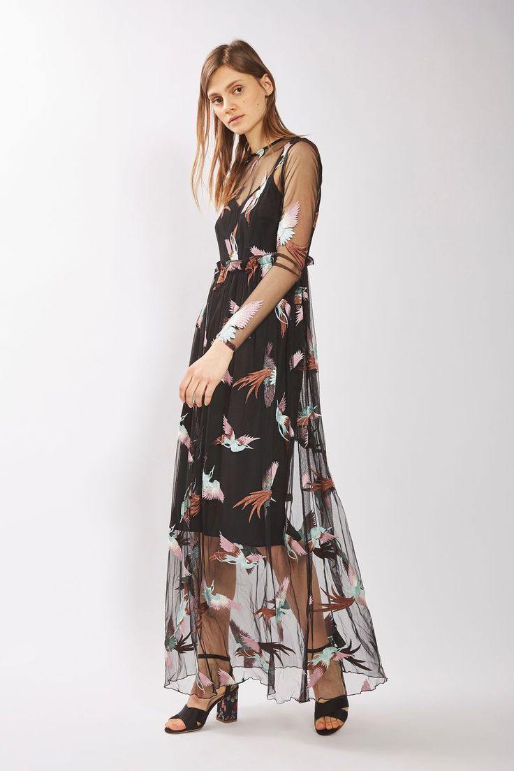 Long Sleeve Bird Embroidered Dress - New In- Topshop Europe