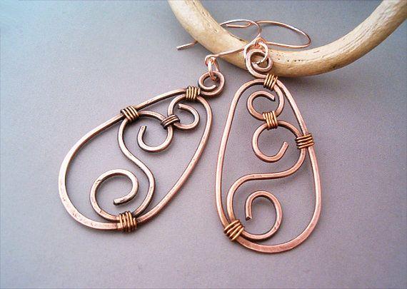 Wire Wrapped Earrings oldlooking Copper   Handmade by GearsFactory, €14.00