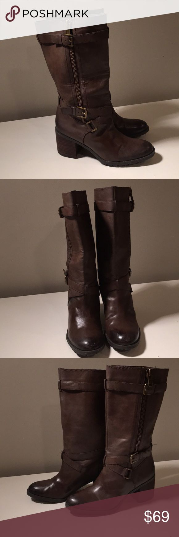 "Franco Sarto Brown Boots Block Heel W 9,5 Pretty pair of tall boots made of genuine leather. Worn once (few scratches- on a photo). They're my sis boots. To high for her. They have marker signs on the soles but nobody won't see them (in the shop somebody wrote ""last pair"" and the number- they don't have number inside). Franco Sarto Shoes Heeled Boots"