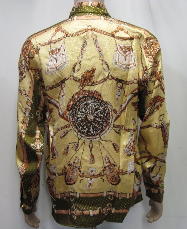 Vintage 90's Deadstock Baroque Sword Silk Shirt, all over,Versace Style inspired 100% Metallic Silk - georgetowncowboyboots