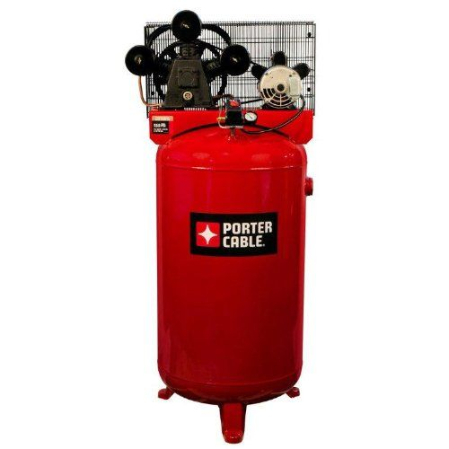 Porter Cable 80-gallon high air flow, single stage air compressor features a 14 CFM at 90 PSI. Compressor has a cast iron, three cylinder, oil lubricated pump with a one-piece cast iron crankcase, full cast iron cylinder body, durable Swedish stainless steel flex leaf valves, oil level sight glass, easily accessible oil fill, 12 in. cast iron balanced flywheel and large intake filter/silencers. 155 PSI max pressure for optimum tool performance.