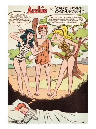 Archie Comics Retro: Archie Comic Panel; Archie, Betty and Veronica in Cave Man Casanova (Aged) Premium Poster