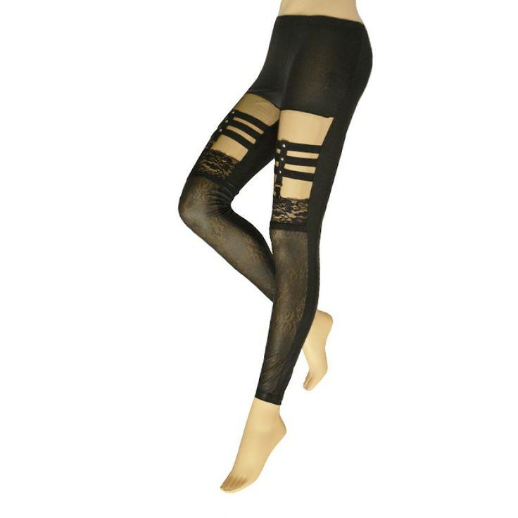 Schwarze Steampunk Leggings im 'Wet Look'