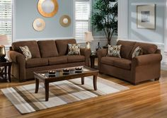 Living Room, Warm Living Room Color Schemes With Chocolate Brown Couch And Rectangle Glass Coffee Table: Brown Couch Living Room to Live Up Your Living Room