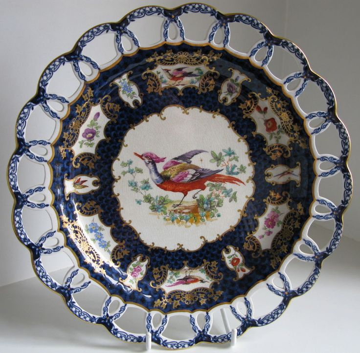 Antique Booths Scale Blue Silicon China Exotic Birds reticulated cabinet plate