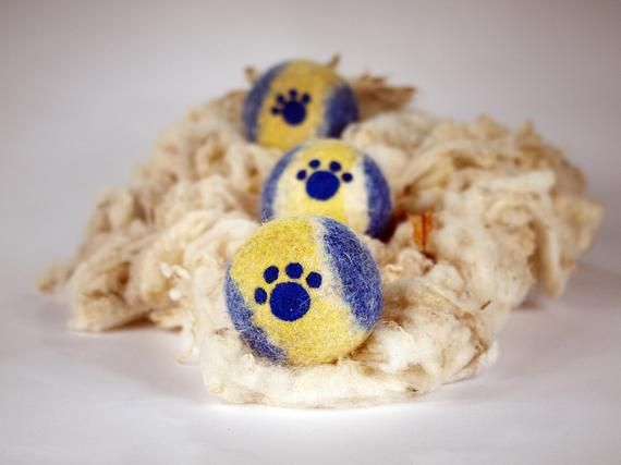 Wool Dog Ball With Paw Print Natural Durable Dog Toys Washable