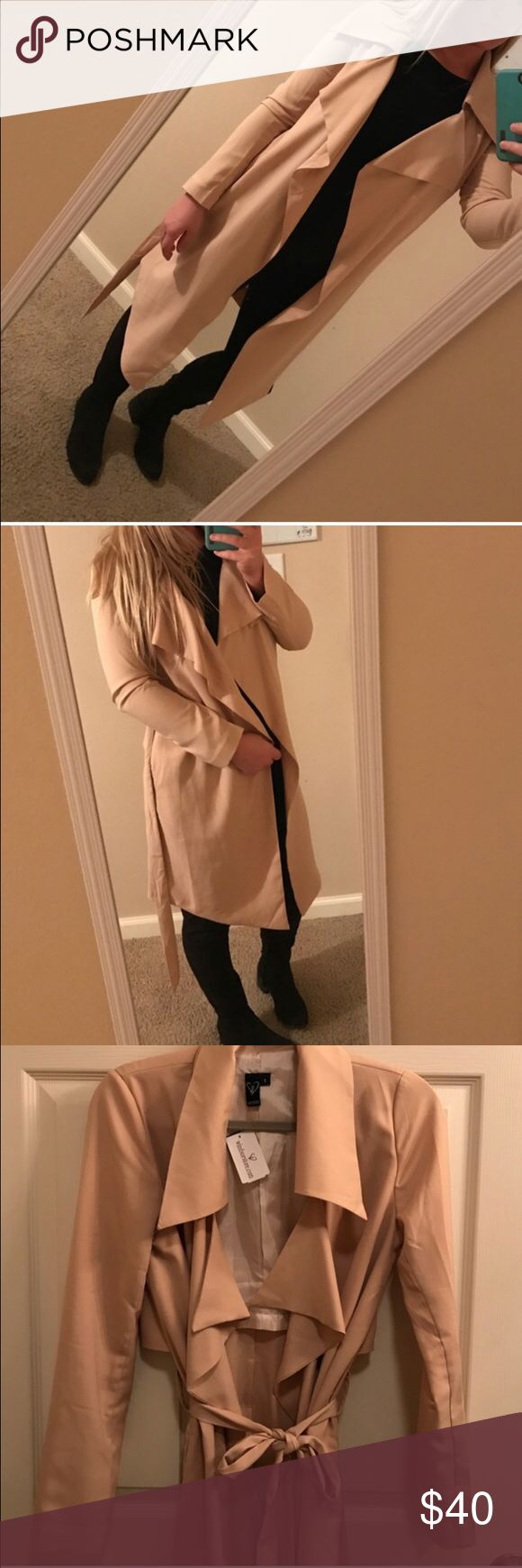 Khaki TRENCH Coat! Beautiful khaki trench coat. Size small. 100% polyester. NOT MISSGUIDED. Just using for branding. New with tags! Missguided Jackets & Coats Trench Coats