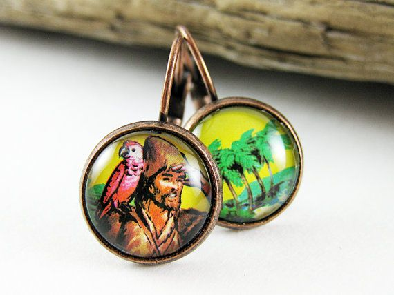 Postage Stamp Earrings / Robinson Crusoe / Grenada c. by OhThePost