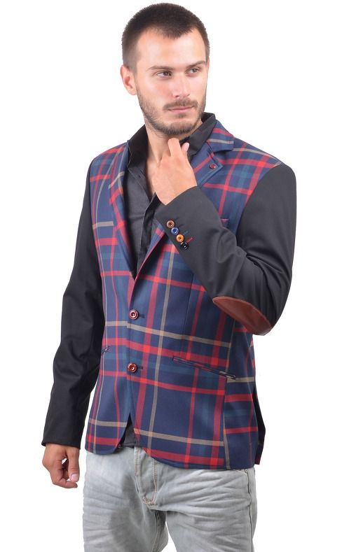 https://www.cityblis.com/9592/item/15864   5334 - $290 by RNT23 Jeans   LEATHER PATCH PLAID BLAZER RNT23 JEANS Men's Genuine Leather Patch Plaid Blazer. Modern, fitted, 2-button closure. Genuine leather patches on elbows and neck. Slit pockets on the side and chest. Made in Turkey. Dry Clean. Hand Finished.   #Blazers/SportCoats