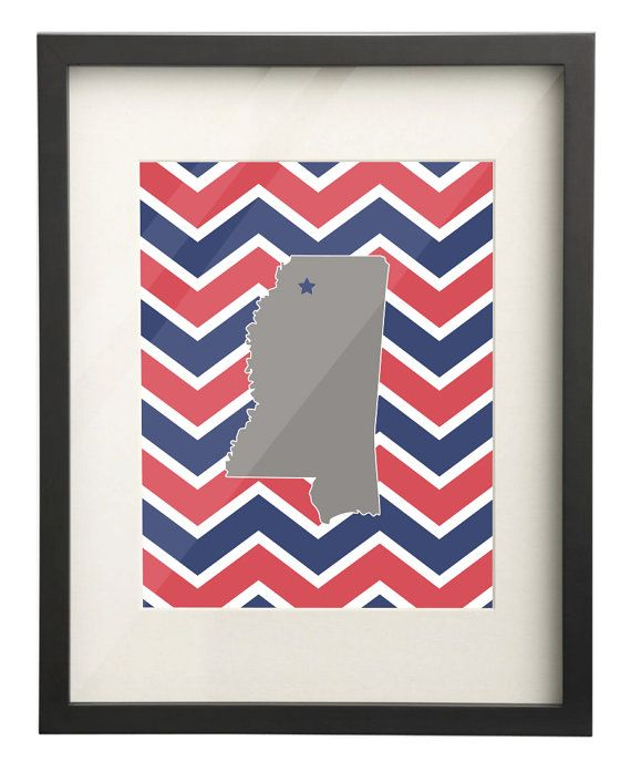 Ole Miss University of Mississippi State Map 8x10 Chevron Print $15.00 Etsy. Use: PIN10 for 10% OFF!