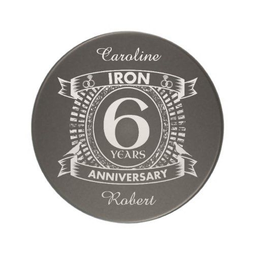 6th wedding anniversary distressed crest drink coaster