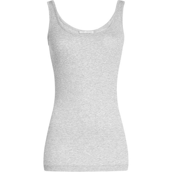 Vince Ribbed Tank Top (460 SEK) ❤ liked on Polyvore featuring tops, shirts, tank tops, tanks, grey, vince tank, ribbed top, gray tank, gray top and vince tank top