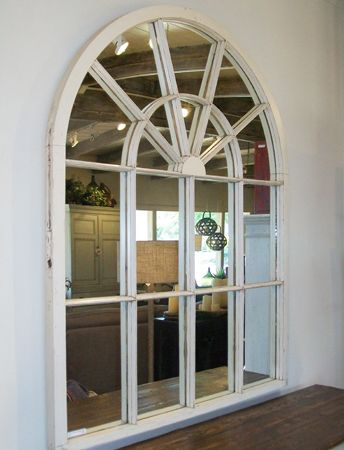 White arch window frame mirror for the kauffmansion for Window mirror ideas